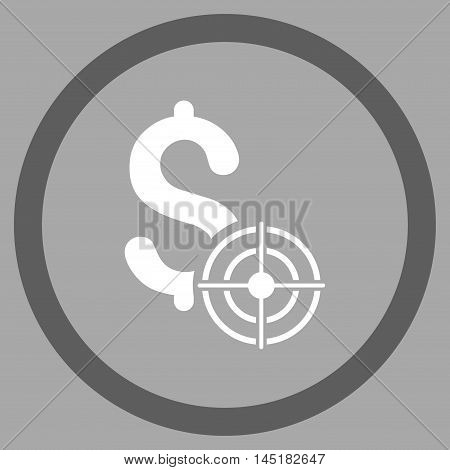 Business Target vector bicolor rounded icon. Image style is a flat icon symbol inside a circle, dark gray and white colors, silver background.
