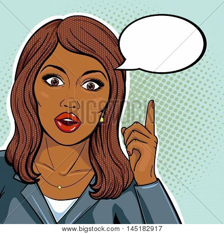Vector african american business woman pointing up on idea balloon with shocked face and open mouth pop art comics style.