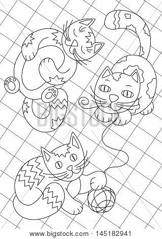 Happy cats playing on the carpet black and white coloring book page. Vector line art coloring for children or adult.