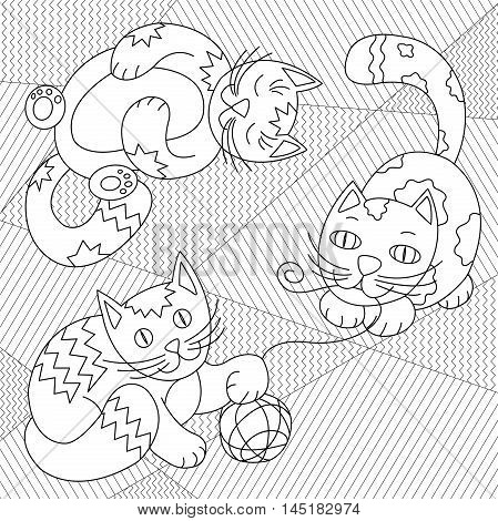 Cute Cats playing with clew on striped carpet - coloring page for kids or adult. Black and white funny cats vector illustration.