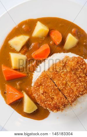 Japanese cuisine rice with deep fried pork and curry sauce with potatoes and carrots in ceramic dish