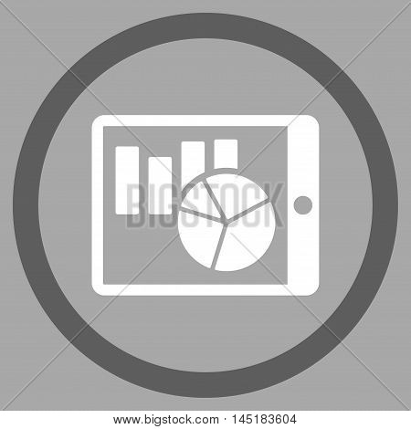 Charts on Pda vector bicolor rounded icon. Image style is a flat icon symbol inside a circle, dark gray and white colors, silver background.