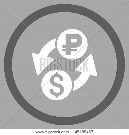 Dollar Rouble Exchange vector bicolor rounded icon. Image style is a flat icon symbol inside a circle, dark gray and white colors, silver background.