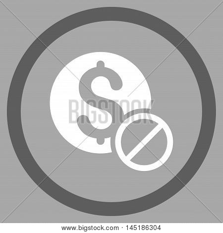 Free of Charge vector bicolor rounded icon. Image style is a flat icon symbol inside a circle, dark gray and white colors, silver background.