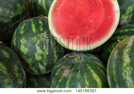 Half sliced watermelon sold at local farm market