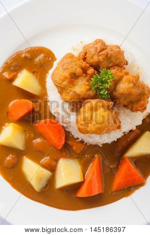 Japanese cuisine rice with deep fried chicken and curry sauce with potatoes and carrots in ceramic dish