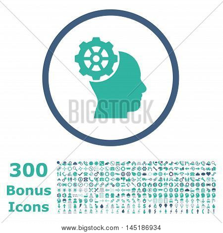 Head Gear rounded icon with 300 bonus icons. Vector illustration style is flat iconic bicolor symbols, cobalt and cyan colors, white background.
