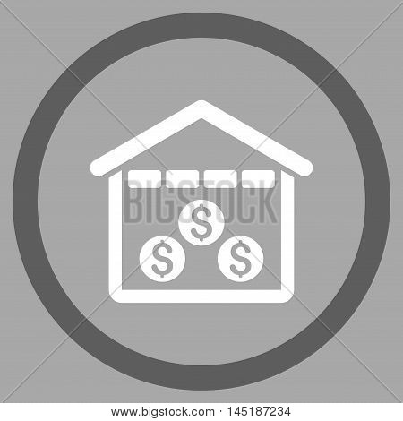 Money Depository vector bicolor rounded icon. Image style is a flat icon symbol inside a circle, dark gray and white colors, silver background.