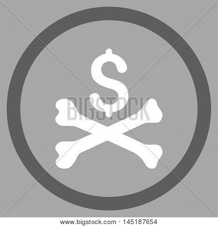 Mortal Debt vector bicolor rounded icon. Image style is a flat icon symbol inside a circle, dark gray and white colors, silver background.