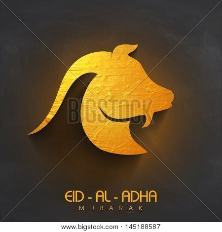 Golden illustration of a Goat Face for Muslim Community, Festival of Sacrifice, Eid-Al-Adha .