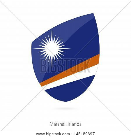 Flag of Marshall Islands in the style of Rugby icon. Vector Illustration.