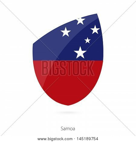 Flag of Samoa in the style of Rugby icon. Vector Illustration.