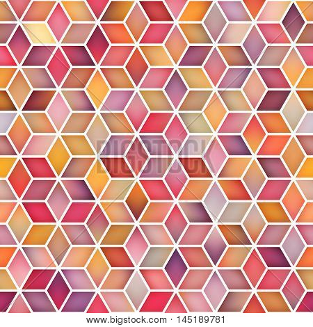 Vector Seamless Multicolor Pink Shades Gradient Cube Shape Rhombus Grid Pattern. Abstract Geometric Background Design