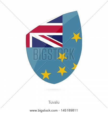 Flag of Tuvalu in the style of Rugby icon. Vector Illustration.