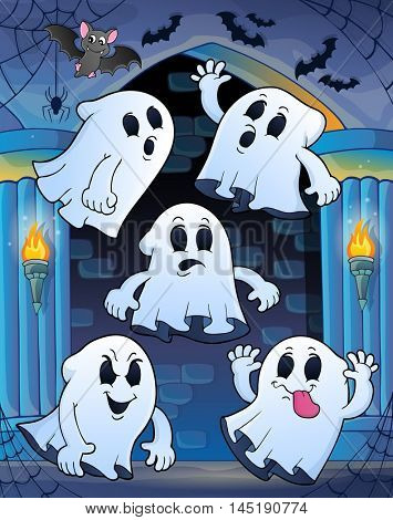 Ghosts in haunted castle theme 1 - eps10 vector illustration.