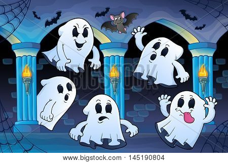Ghosts in haunted castle theme 2 - eps10 vector illustration.