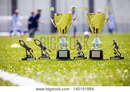 Soccer championship gold trophies on shinny green grass. Sport football background