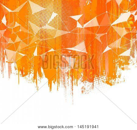 Splashes Orange Background. Creative abstract background with colorful splash, halftone doted elements and triangular design