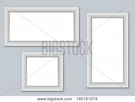 Blank picture frames hanging on the wall vector template. Well organized eps10 file, you can easily change the wall color and paste your images.