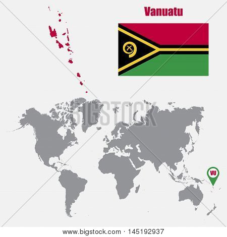 Vanuatu map on a world map with flag and map pointer. Vector illustration