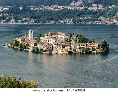 View of the island of San Giulio in Lake Orta in Italy