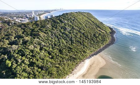 Aerial view of Burleigh Headland National Park, and surrounds. Gold Coast, Australia