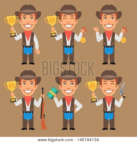 Vector Illustration, Cowboy Holds Cup Medal and Money, Format EPS 8
