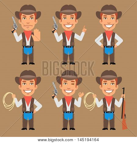 Vector Illustration, Cowboy Holds Weapons and Rope, Format EPS 8