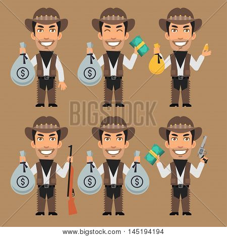 Vector Illustration, Robber Cowboy Holds Money and Gold, Format EPS 8