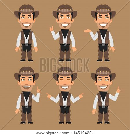 Vector Illustration, Robber Cowboy Indicates and Shows, Format EPS 8