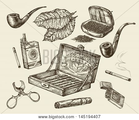 Tobacco. Vector collection smoking. Hand drawn sketch pack of cigarettes, lignter, smoking pipe, cigar, tobacco leaf, cigarette case