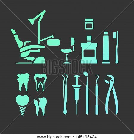 Vector dental care thin line icons. Dental chair, mouthwash, toothpaste,  dentist tools, dentist office.