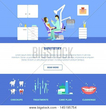 Vector dental care concept, template, layout. Dental chair, mouthwash, toothpaste, dentist tools, dentist office, doctor, patient.