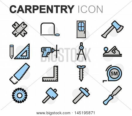 Vector flat line carpentry icons set on white background