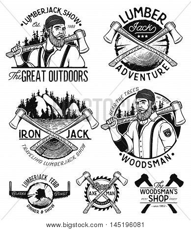 Lumberjack Template Logo. Lumberjack mascot holding the axe. Vintage sawmill logo set labels badges and design elements isolated on white background. Vector Design Illustration.