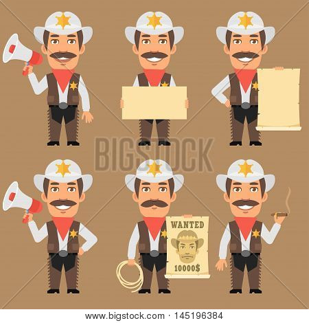Vector Illustration, Sheriff Cowboy Holds Megaphone and Paper, Format EPS 8