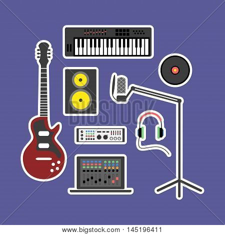 Vector music production flat icon set. Speaker, laptop, headphones, microphone, amplifier, plate, synthesizer, electric guitar.