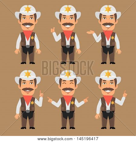 Vector Illustration, Sheriff Cowboy Indicates and Shows, Format EPS 8