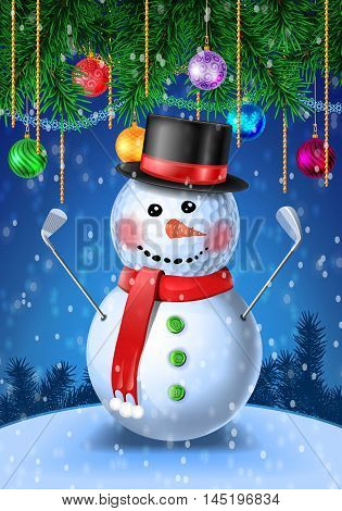 Snowman golfer with irons in black hat on golf ball. New Year colorful greeting card with evergreen pine branch and baubles with tinsel. Vector illustration on blue background with snowflakes