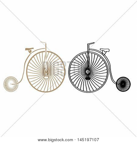 Two retro bicycles with the big front and small rear wheels.Designed for speed,movement,trips.Consists of seat,handlebar,spokes,frame,pedals,the iron transport.Vintage,sports,healthy way of life,arts.