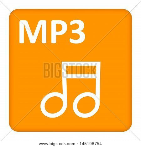 mp3 icon in yellow and white colors. vector illustration.