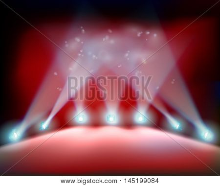 Theater stage before the premiere. Vector illustration.