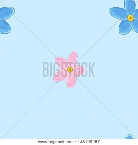 Floral seamless pattern with forget-me-not. Vector background with flowers.