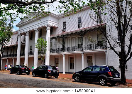 Old Salem North Carolina - April 21 2016: 1849 Belo House with its stately columned portico *