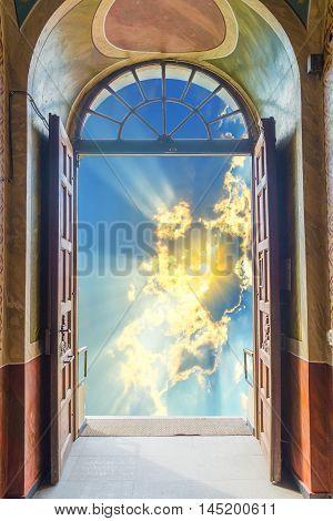 Open doorway towards the future. Spiritual and business opportunity concept, seen through a door