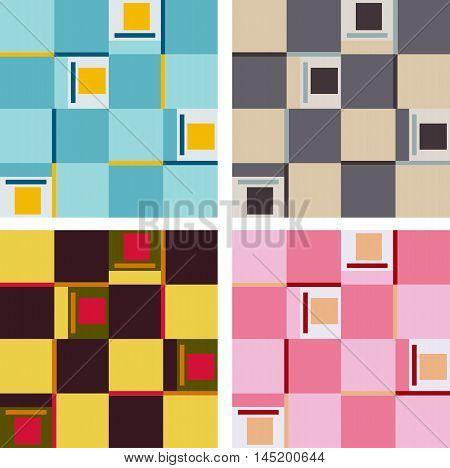 Set of various colored quadrant patterns texture