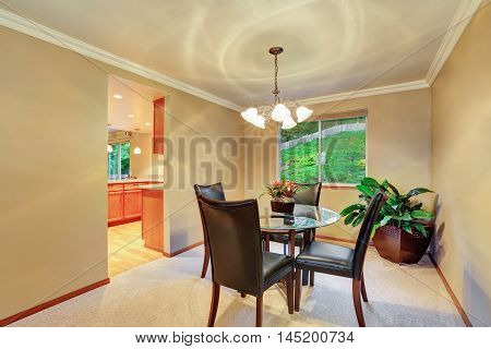 Elegant Dining Room Interior With Plant Pot In The Corner