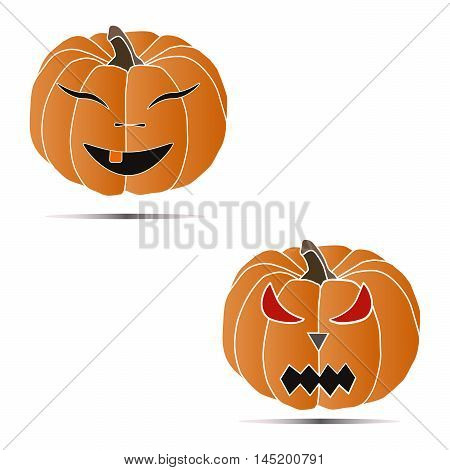 Vector illustration of logo for yellow pumpkin, good and evil.Isolated drawing of two vegetable, red eyes, nose and mouth cut out close-up on a white background.The icon for the celebrating halloween.