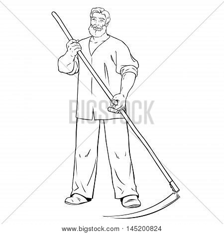 strong man mows the grass. young male farmer with scythe in his hands