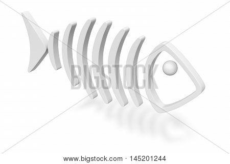 Fish Skeleton Style 3D Illustration. Isolated White Background.